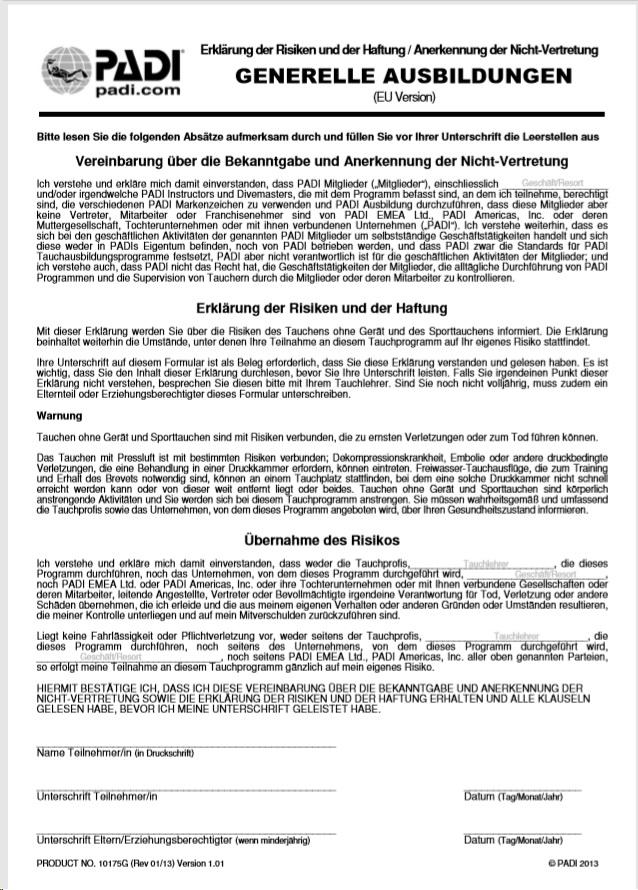PADI Formular Risiken und Haftung deutsch