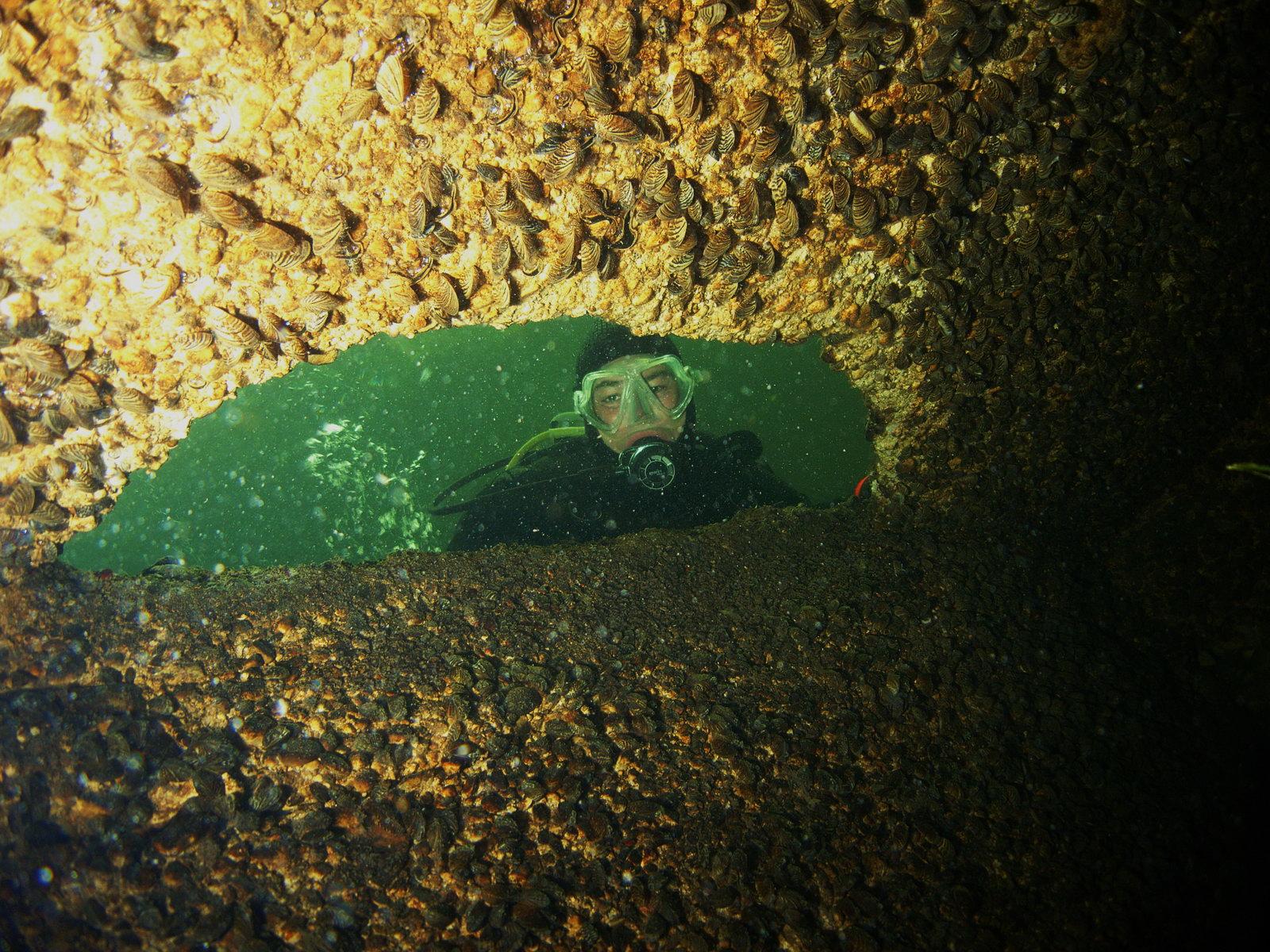 Höhlentaucher blickt in die Höhle