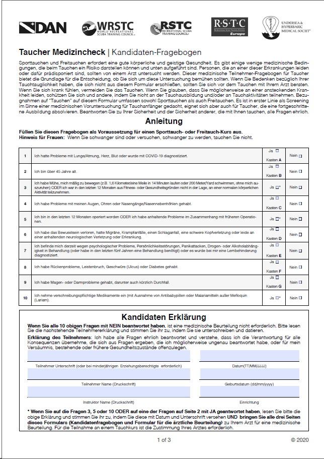 PADI Formular Ärztliches Attest deutsch