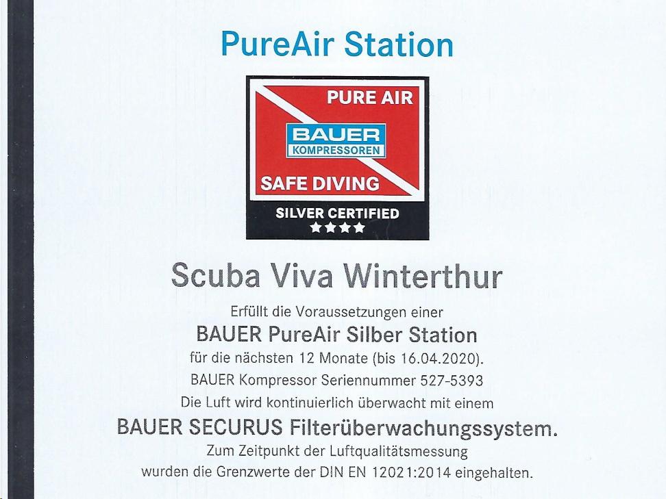 PureAir Zertifikat Dive Center SCUBA VIVA
