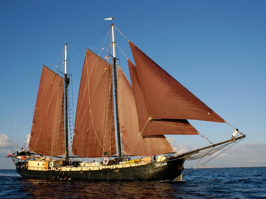 Segelboot, das mit dem Wind fährt